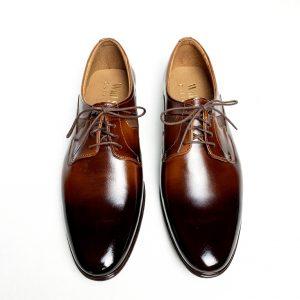 Eleganckie brązowe skórzane buty męskie 5