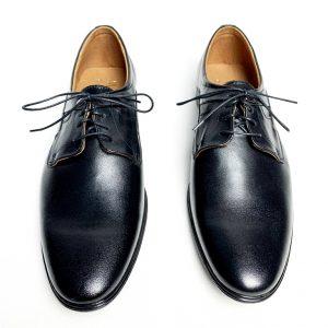 Eleganckie czarne skórzane buty męskie 5