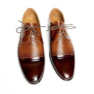 Brązowe skórzane buty z przeszyciem 5