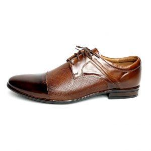Brązowe skórzane buty z przeszyciem 1